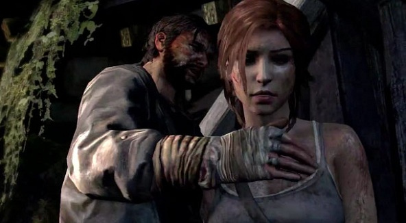 A screencap pf the infamous scene from the 2012 trailer for the newTomb Raider.